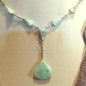 Silver and turquoise lariat necklace